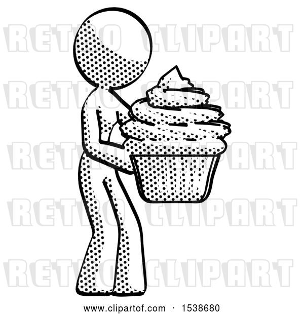 Clip Art of Retro Halftone Design Mascot Lady Holding Large Cupcake Ready to Eat or Serve