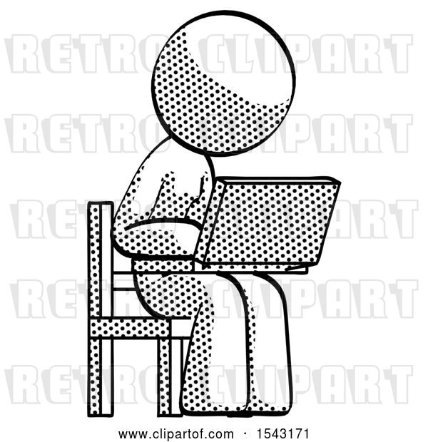 Clip Art of Retro Halftone Design Mascot Lady Using Laptop Computer While Sitting in Chair Angled Right