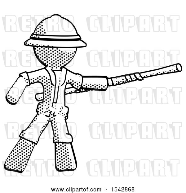 Clip Art of Retro Halftone Explorer Ranger Guy Bo Staff Pointing Right Kung Fu Pose