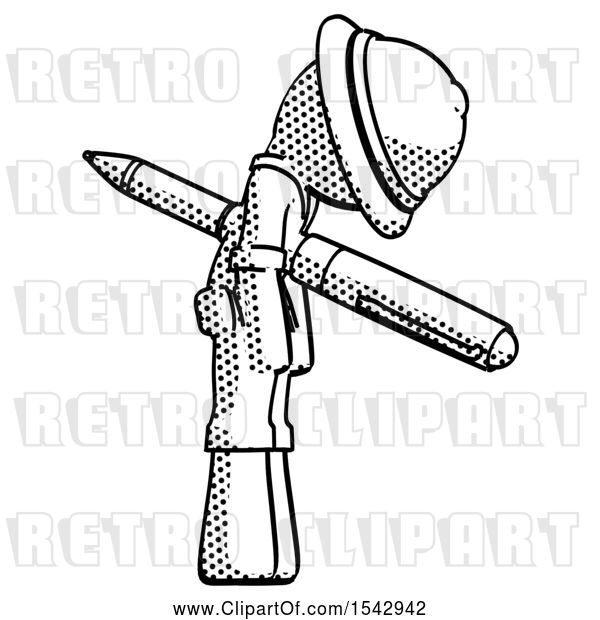 Clip Art of Retro Halftone Explorer Ranger Guy Impaled Through Chest with Giant Pen
