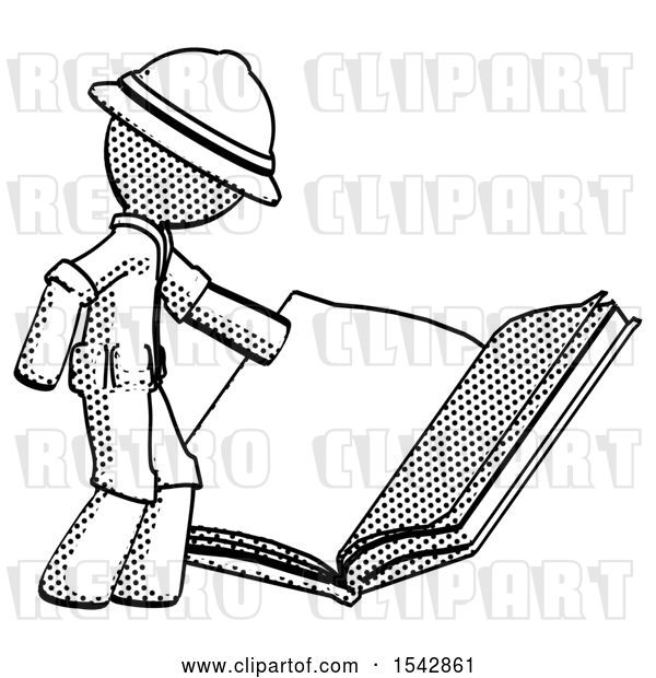 Clip Art of Retro Halftone Explorer Ranger Guy Reading Big Book While Standing Beside It