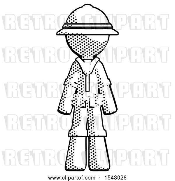 Clip Art of Retro Halftone Explorer Ranger Guy Standing Facing Forward