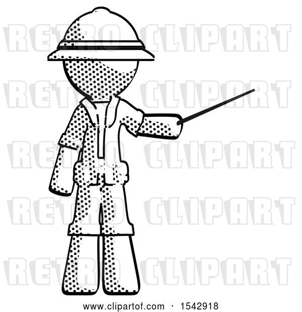 Clip Art of Retro Halftone Explorer Ranger Guy Teacher or Conductor with Stick or Baton Directing