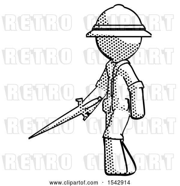 Clip Art of Retro Halftone Explorer Ranger Guy with Sword Walking Confidently