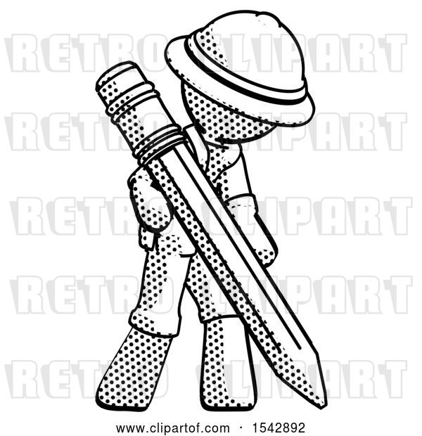 Clip Art of Retro Halftone Explorer Ranger Guy Writing with Large Pencil