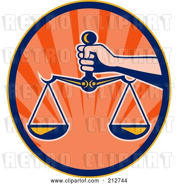 Clip Art of Retro Hand Holding the Scales of Justice
