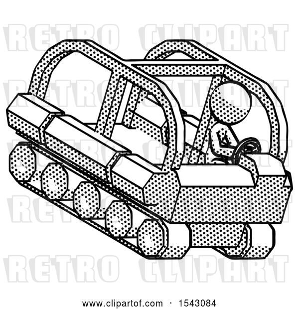 Clip Art of Retro Lady Driving Amphibious Tracked Vehicle Top Angle View