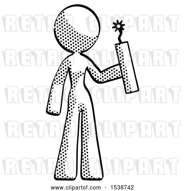 Clip Art of Retro Lady Holding Dynamite with Fuse Lit