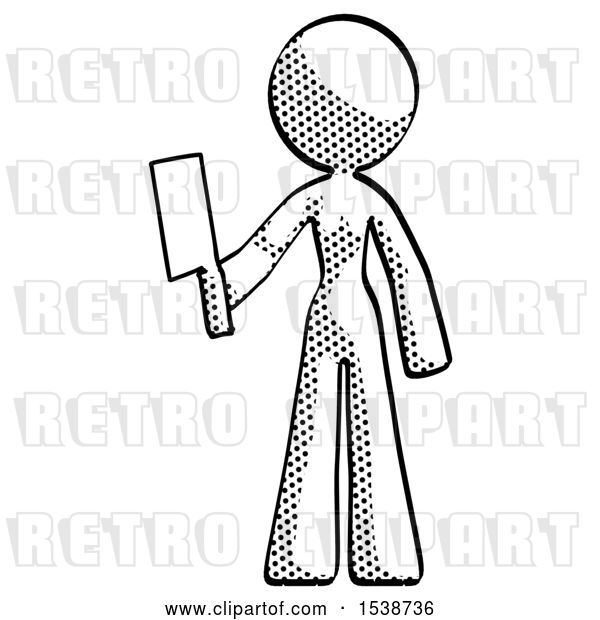 Clip Art of Retro Lady Holding Meat Cleaver