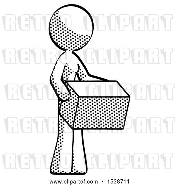Clip Art of Retro Lady Holding Package to Send or Recieve in Mail