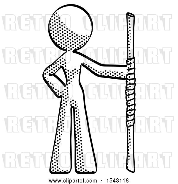 Clip Art of Retro Lady Holding Staff or Bo Staff