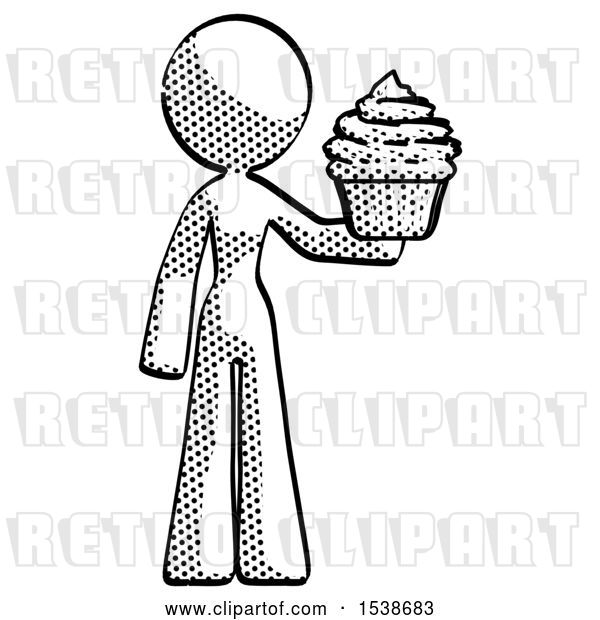 Clip Art of Retro Lady Presenting Pink Cupcake to Viewer