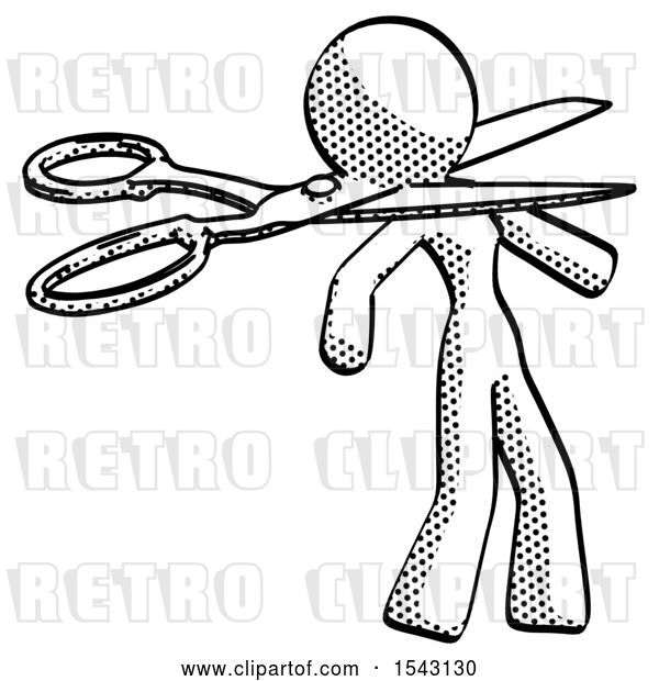 Clip Art of Retro Lady Scissor Beheading Office Worker Execution