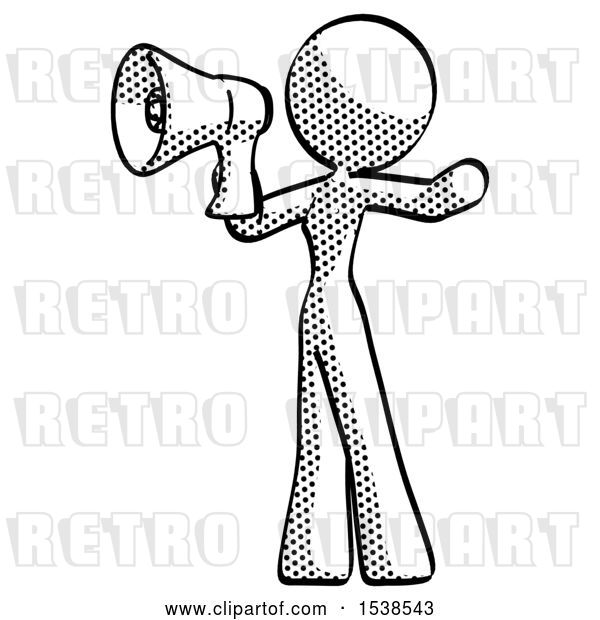 Clip Art of Retro Lady Shouting into Megaphone Bullhorn Facing Left