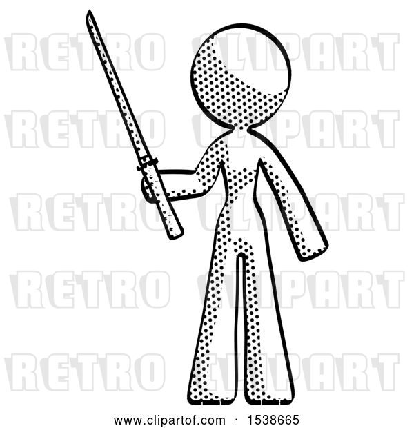 Clip Art of Retro Lady Standing up with Ninja Sword Katana