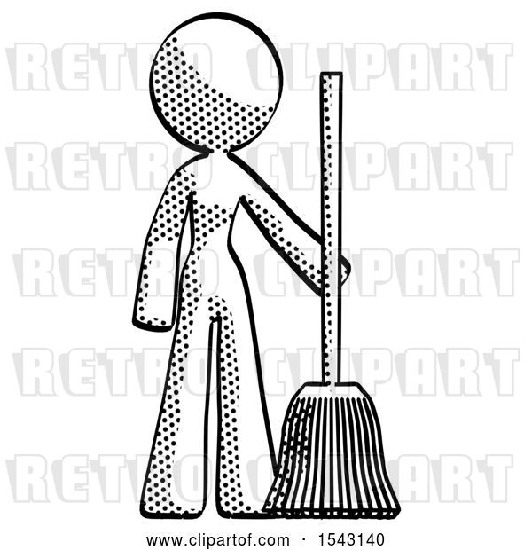 Clip Art of Retro Lady Standing with Broom Cleaning Services
