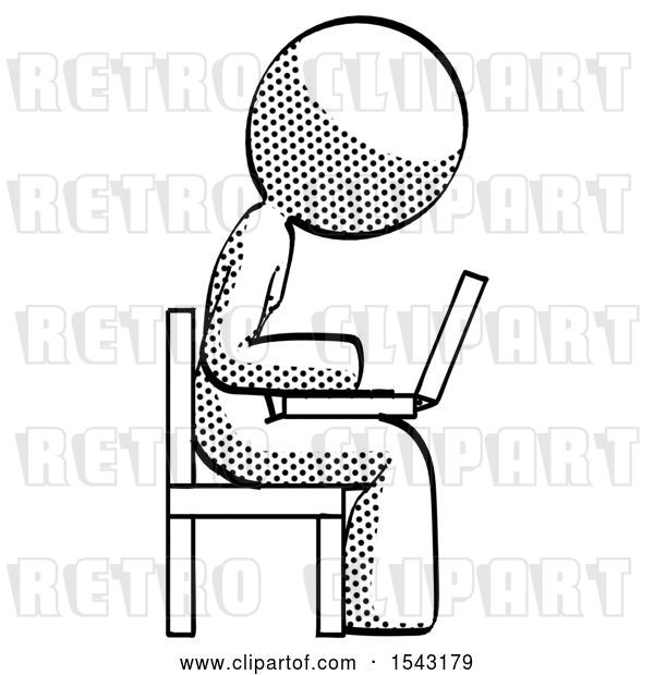 Clip Art of Retro Lady Using Laptop Computer While Sitting in Chair View from Side