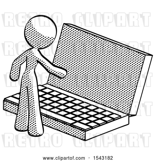 Clip Art of Retro Lady Using Large Laptop Computer