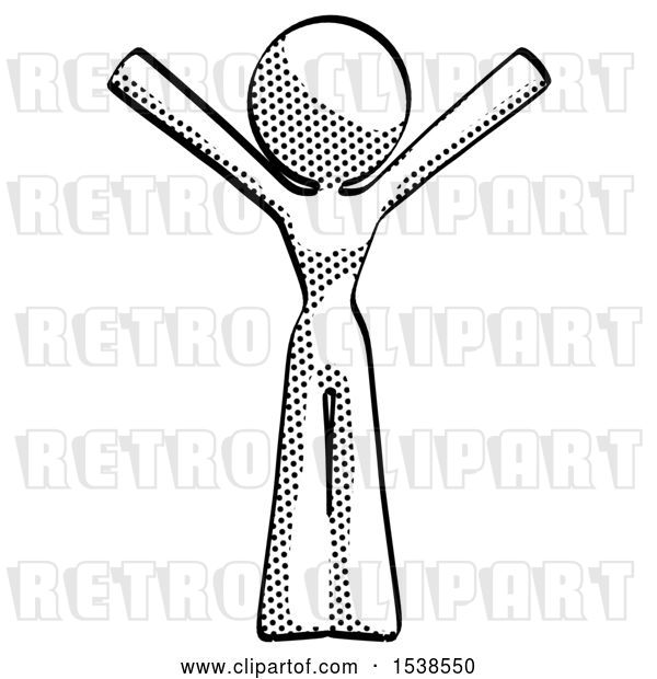 Clip Art of Retro Lady with Arms out Joyfully