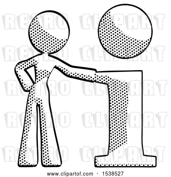 Clip Art of Retro Lady with Info Symbol Leaning up Against It