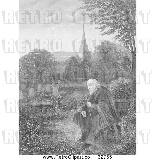 Clip Art of Retro Lone Old Man in a Cemetery near a Church, in Black and White