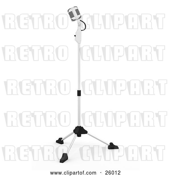Clip Art of Retro Microphone on a Stand in a Recording Studio, on a White Background