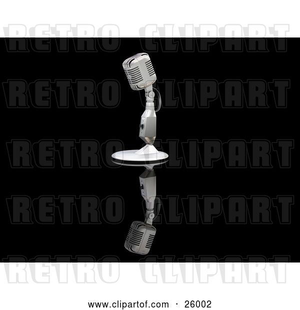 Clip Art of Retro Microphone on a Table Top Stand on a Reflective Black Surface