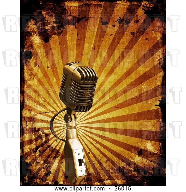 Clip Art of Retro Microphone over a Bursting Orange Background with Grunge Splatters