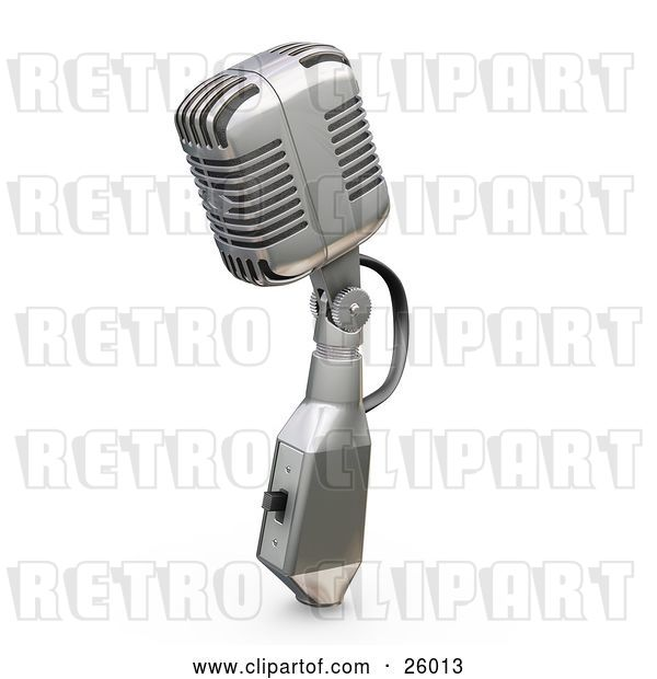Clip Art of Retro Microphone with a Switch, on a White Background