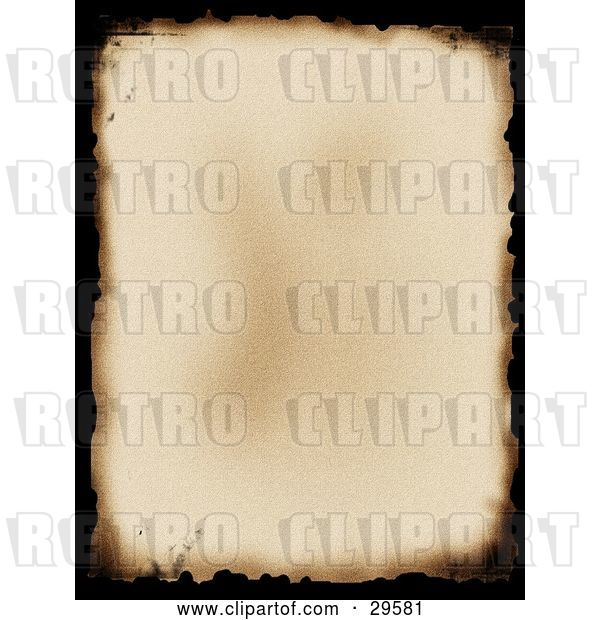 Clip Art of Retro Old Piece of Parchment Paper with Black Burnt Edges