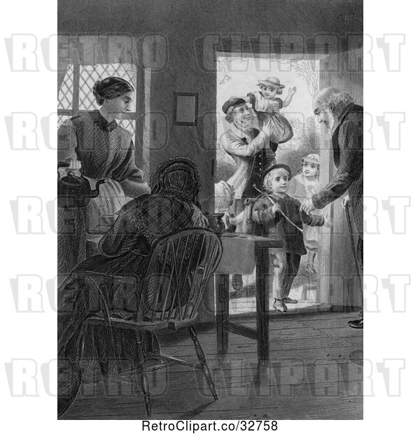 : Clip Art of Retro Parents and Grandparents with KChildren at a Door in
