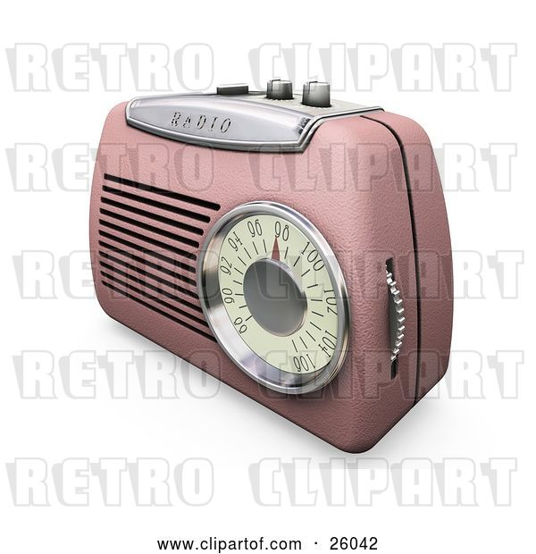 Clip Art of Retro Pink Radio with a Station Dial, on a White Surface