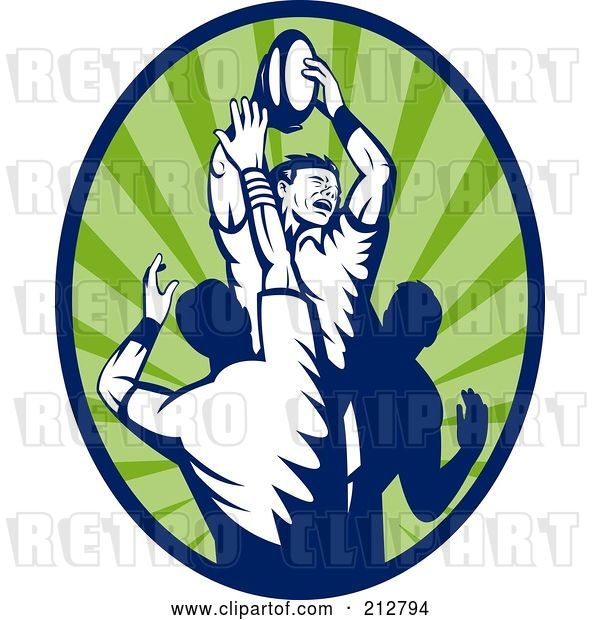 Clip Art of Retro Rugby Lineout Logo