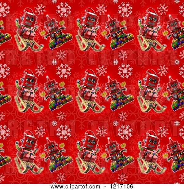 Clip Art of Retro Seamless Background of Robots on Red with Snowflakes