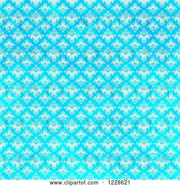 Clip Art of Retro Seamless Bright Gradient Blue Damask Background