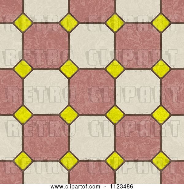 Clip Art of Retro Seamless Tile Floor Texture Background Pattern