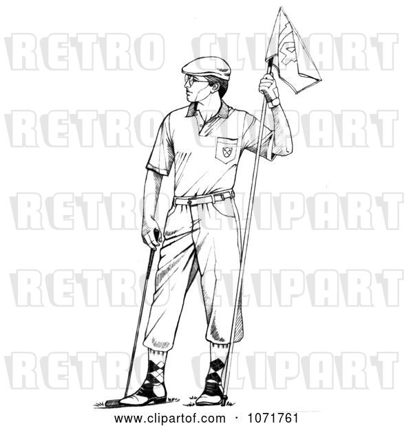 Clip Art of Retro Sketched Male Golfer Holding a Flag