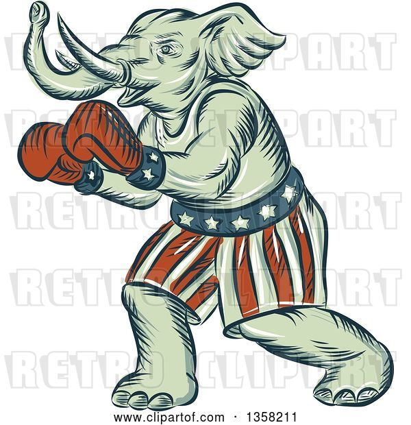 Clip Art of Retro Sketched or Engraved Political Elephant Boxer