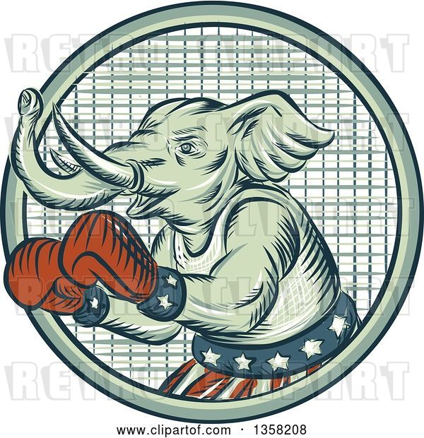Clip Art of Retro Sketched or Engraved Political Elephant Boxer in a Circle