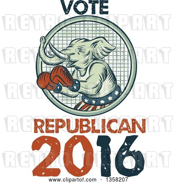 Clip Art of Retro Sketched or Engraved Political Elephant Boxer with Vote Republican 2016 Text