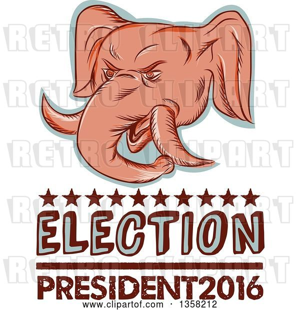 Clip Art of Retro Sketched or Engraved Political Elephant Head with Election President 2016 Text