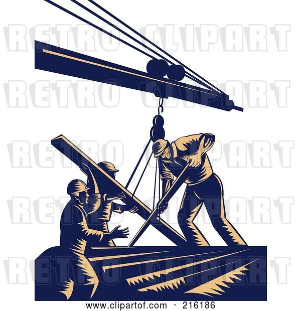 Clip Art of Retro Team of Construction Workers Using a Boom to Lift Lumber