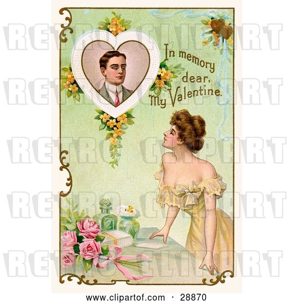 "Clip Art of Retro Valentine of a Beautiful Young Lady Leaning on a Table and Looking up at a Portrait of a Deceased Guy with Text Reading ""In Memory Dear, My Valentine"" Circa 1910"