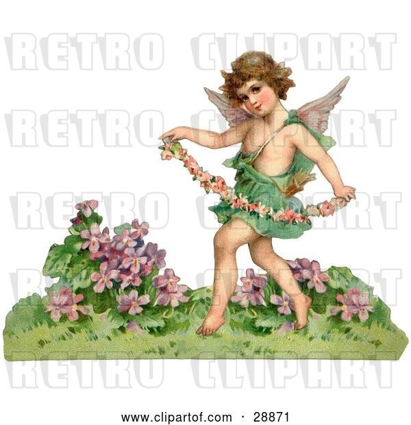 Clip Art of Retro Valentine of a Cupid Playfully Running Through a Garden and Carrying a Garland of Flowers, Circa 1888