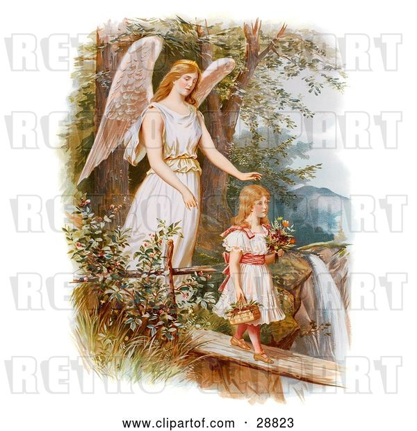 Clip Art of Retro Valentine of a Female Guardian Angel Looking over a Little Girl As She Carries Flowers and a Basket Across a Log over a Cliff and River, Circa 1890