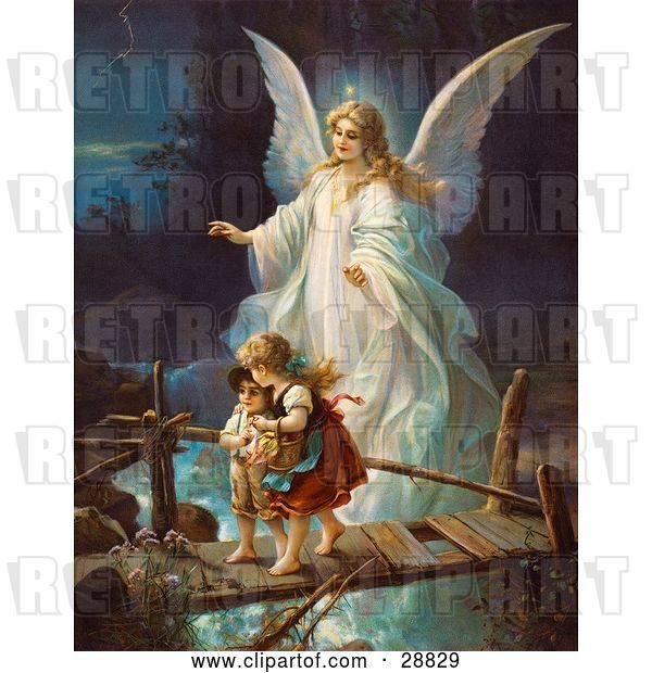Clip Art of Retro Valentine of a Female Guardian Angel Protecting a Little Girl and Her Brother As They Cross over a River on a Narrow Broken Bridge, Circa 1890
