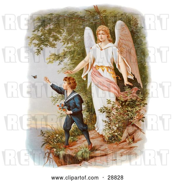 Clip Art of Retro Valentine of a Female Guardian Angel Watching over a Little Boy As He Picks Flowers and Chases Butterflies at the Edge of a Cliff, Circa 1890