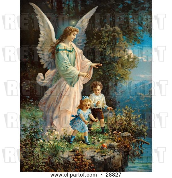 Clip Art of Retro Valentine of a Female Guardian Angel Watching over Two Little Children As They Play with a Ball and Hoop at the Edge of a Cliff, Circa 1890