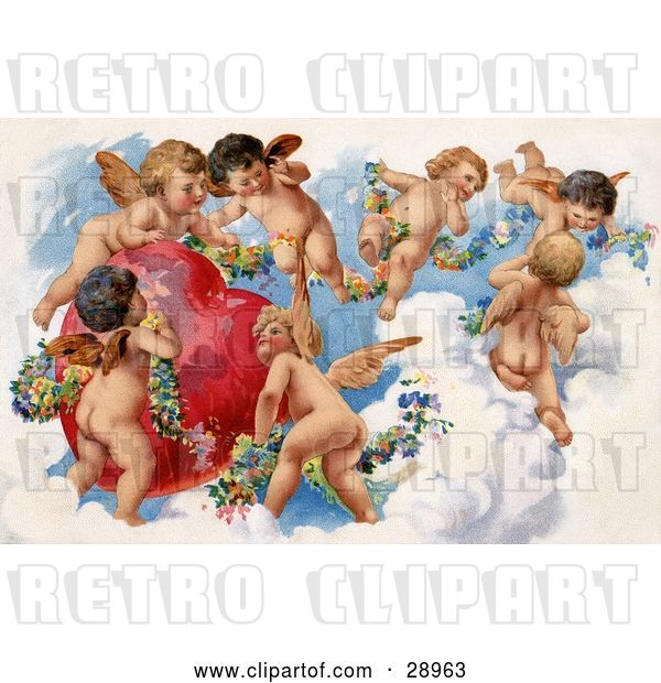 Clip Art of Retro Valentine of a Group of Playful Cherubs in the Clouds of Heaven, Decorating a Red Heart in Floral Garlands, Circa 1909