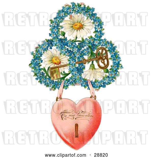 Clip Art of Retro Valentine of a Heart Locket Suspended from Rings of Blue Flowers Around White Daisies with a Gold Skeleton Key Circa 1890